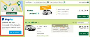 filtre PayPal location de voiture Carigami.