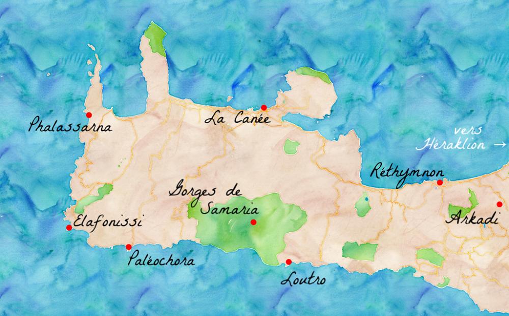 Carte de l'ouest de la Crète.