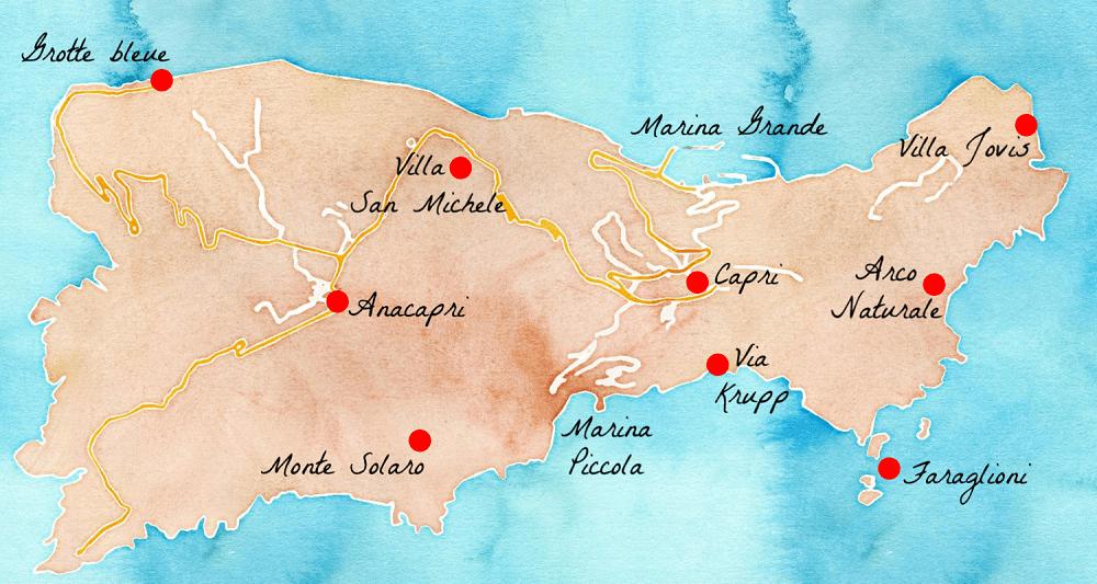 Capri carte du monde