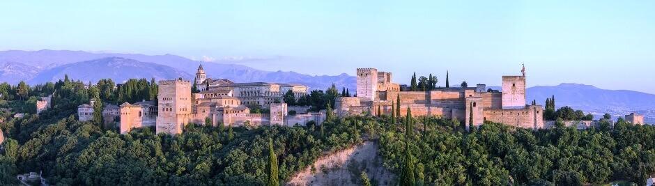 Vue du palais de l'Alhambra de Grenade.