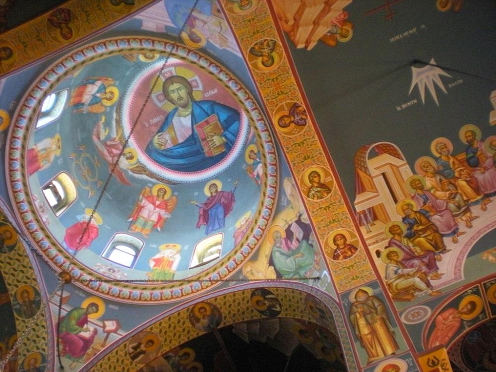 Vue des fresques de l'église de Agios Nikolaos.