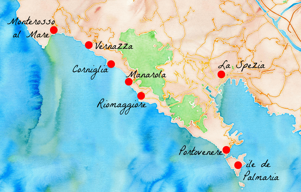 carte cinque terre italie Un beau week end italien aux Cinque Terre   Carigami