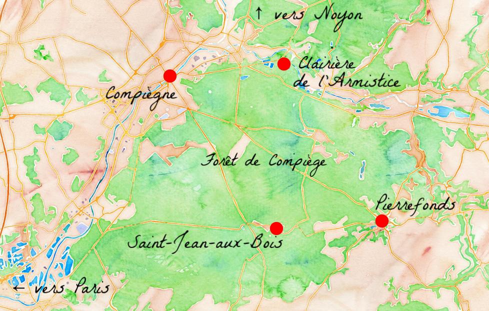 Cartes des principaux lieux touristiques autour de Compiègne dans l'Oise.