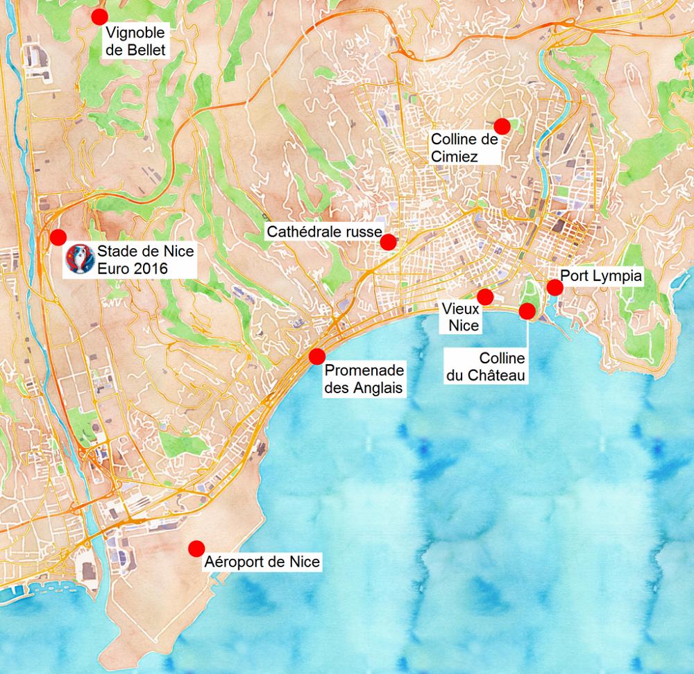 Carte des sites touristiques de Nice.
