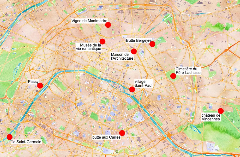 Carte des quartiers non touristiques de Paris.