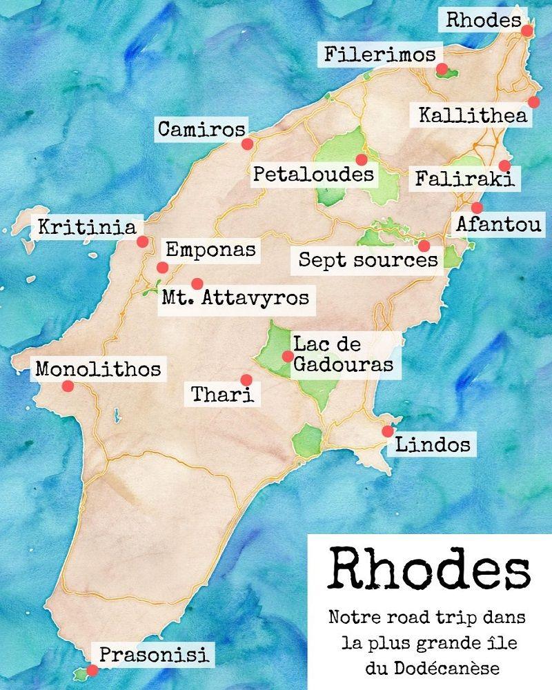 Carte touristique pour visiter l'île de Rhodes.