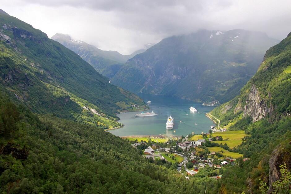 Vue du fjord de Geiranger en Norvège.