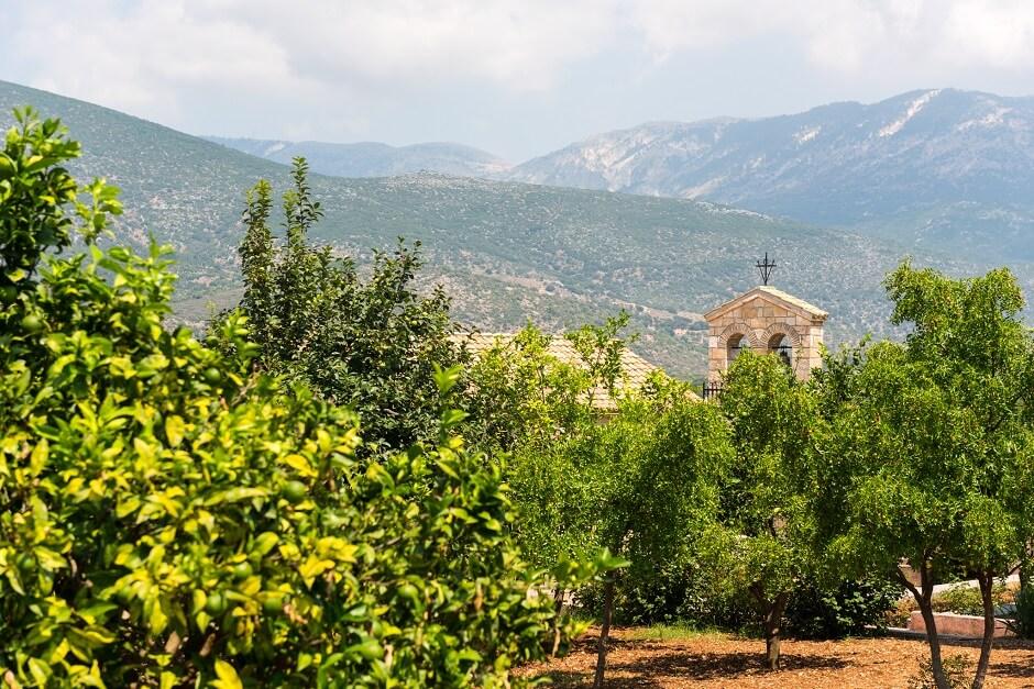 Vue d'une église sur l'île de Céphalonie en Grèce.