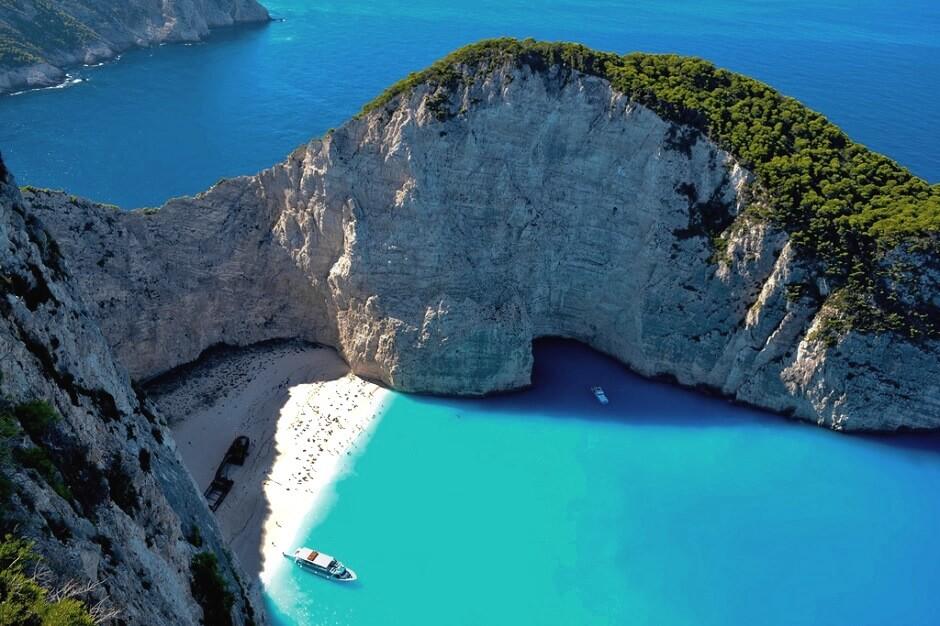 Vue de l'île de Zakynthos en Grèce.