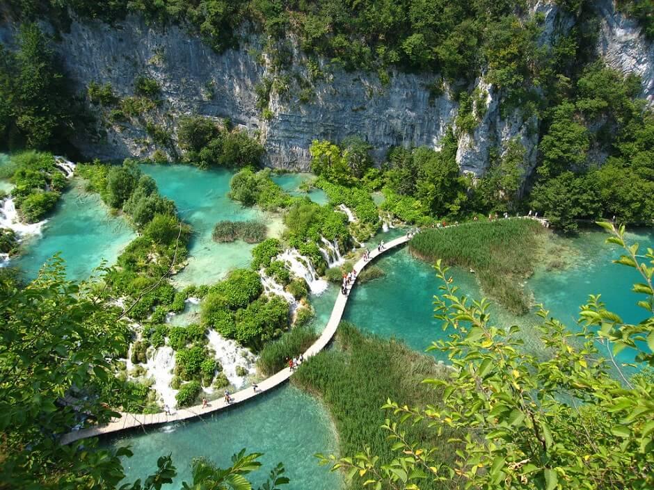 Vue du parc national de Plitvice en Croatie.