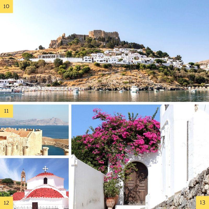 Vues de Lindos sur l'île de Rhodes.