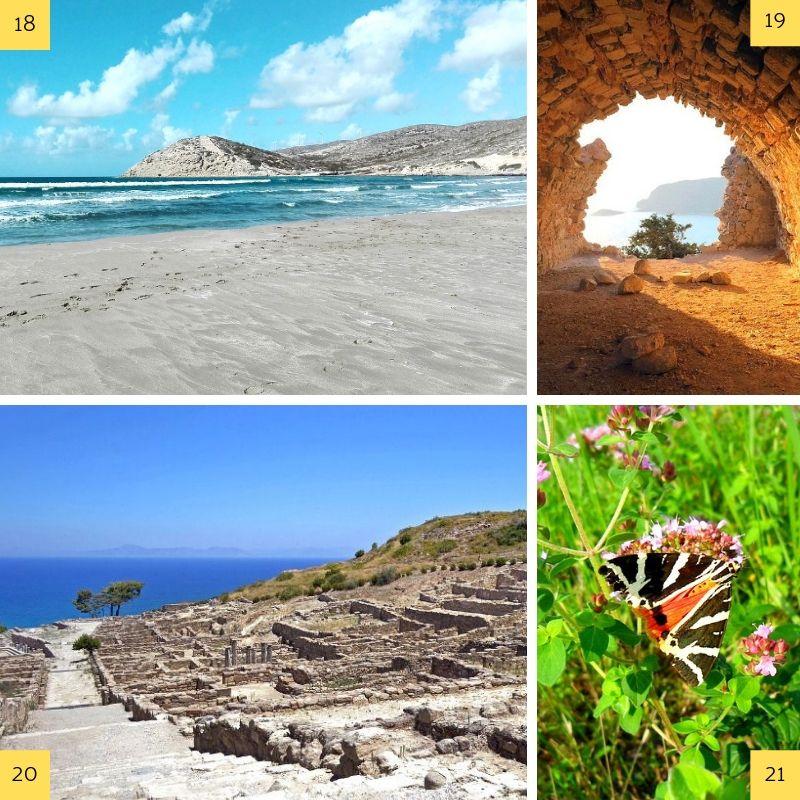 Vues de sites touristiques majeurs de la côte ouest de l'île de Rhodes.