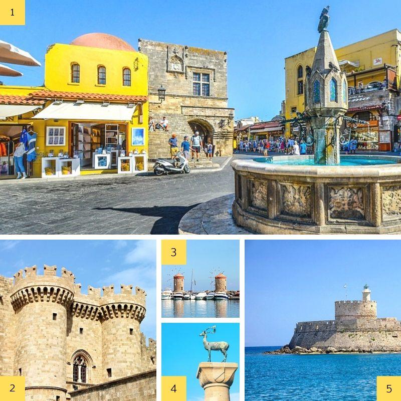 Vues de la ville de Rhodes en Grèce.