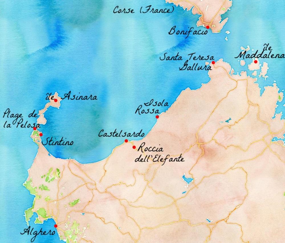 carte des lieux touristiques en Sardaigne.