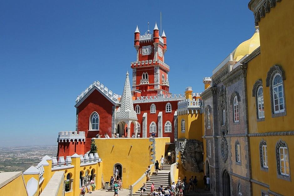 Vue du palais de Sintra au Portugal.