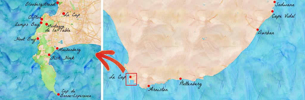 Cartes des plages d'Afrique du Sud.