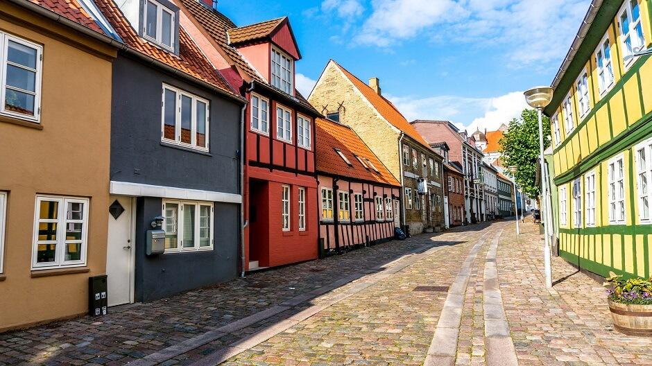Vue d'une rue d'Horsens au Danemark.