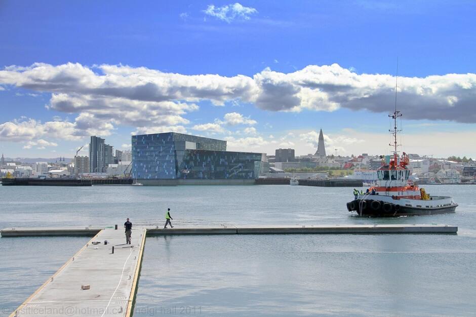 Vue du port de Reykjavik en Islande.