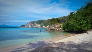 Vue de la plage de petit havre à la Guadeloupe