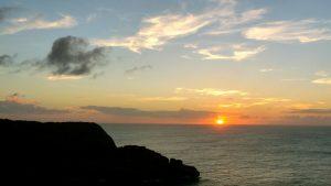 Coucher de soleil sur la Guadeloupe.
