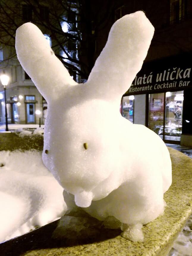 Lapin confectionné avec de la neige