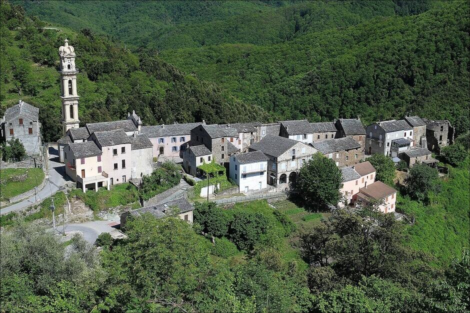 Vue aérienne d'un village dans la forêt en Corse.