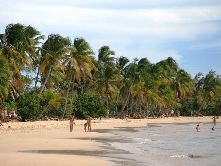 Vue de la plage des Salines en Martinique.