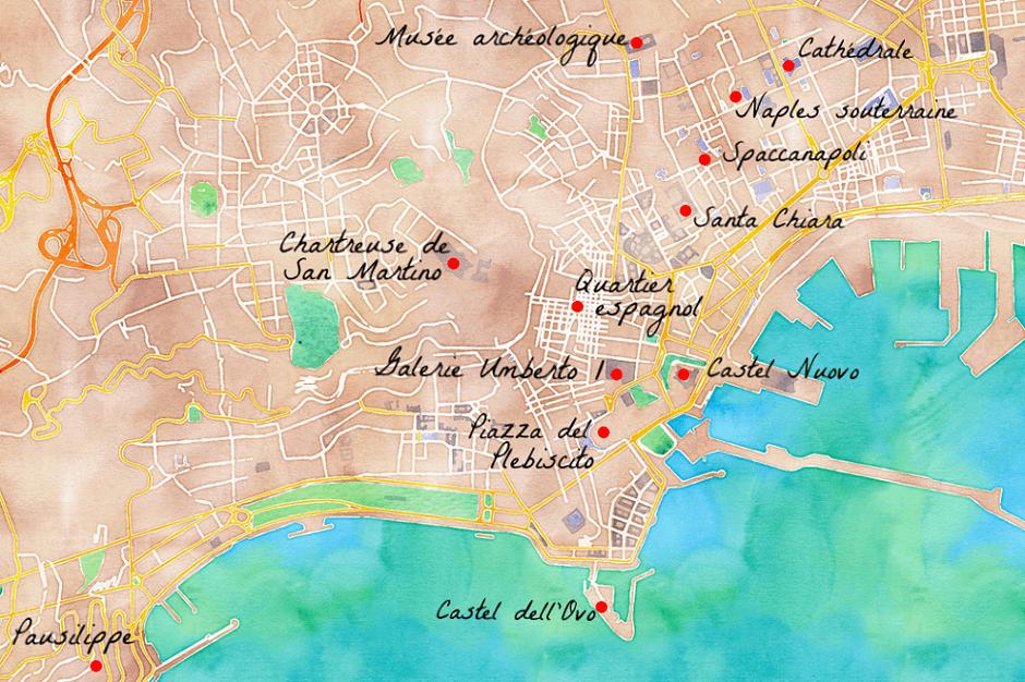 Carte des lieux touristiques de Naples en Italie.
