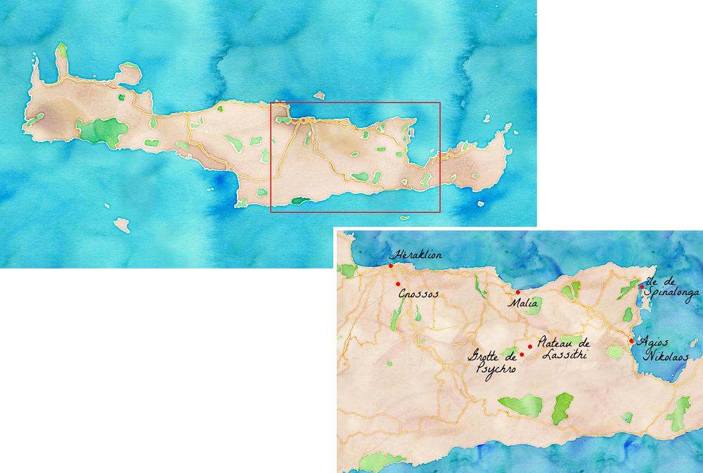 Carte de la Crète en Grèce.