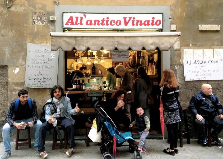 Vue de l'Antico Vinaio à Florence.