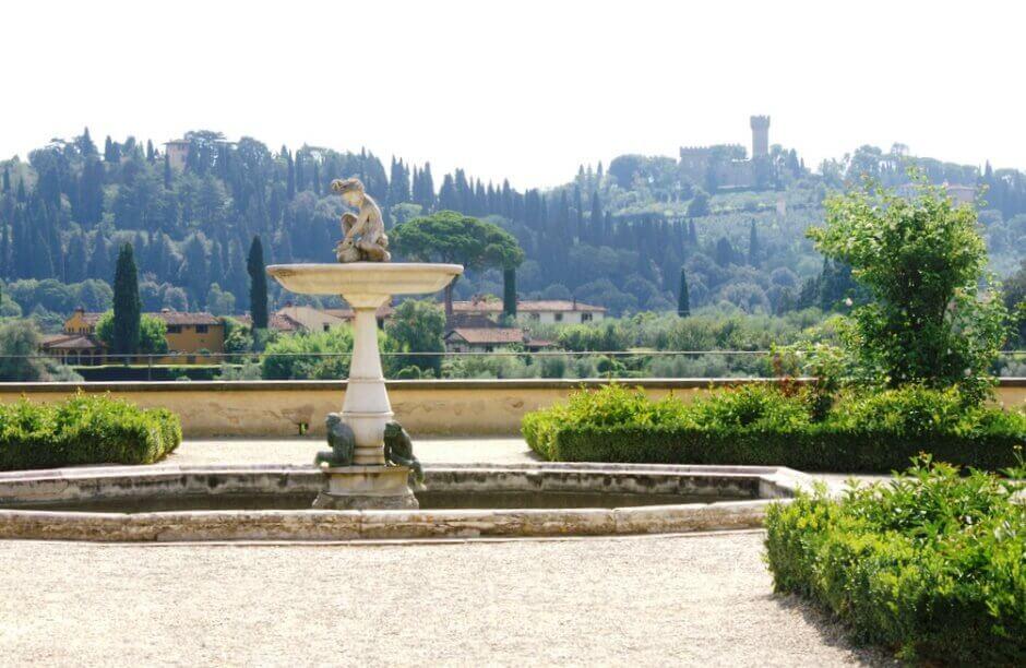 Vue des jardins de Boboli à Florence.