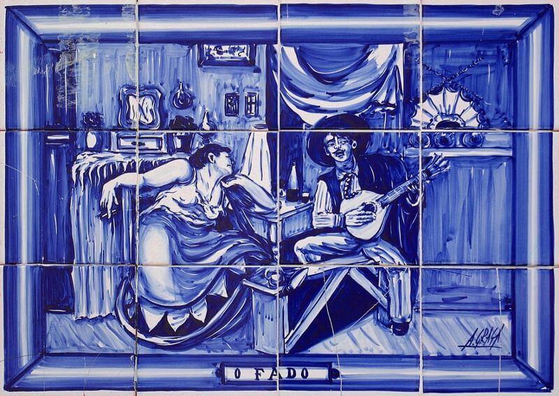 Une plaque émail bleu de Lisbonne
