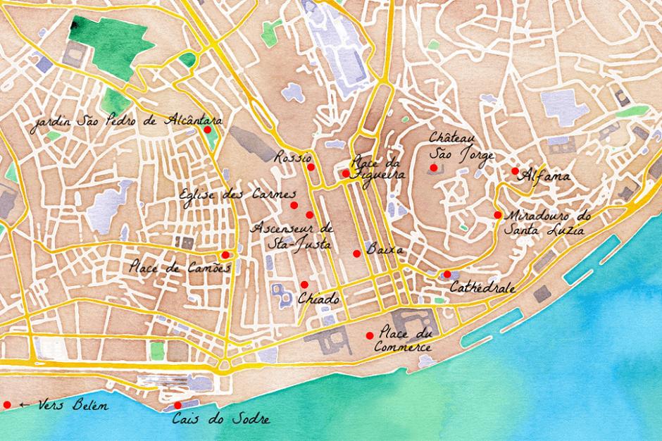Plan touristique de Lisbonne.