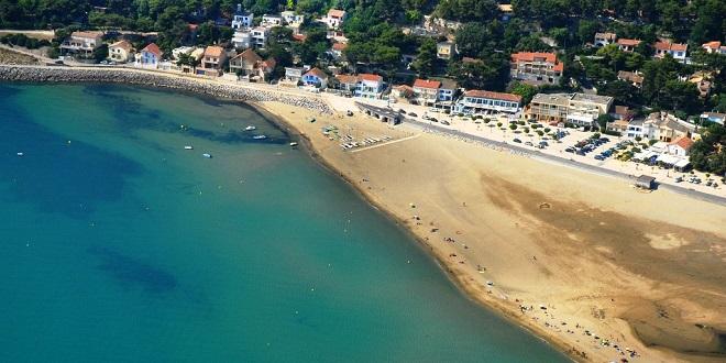 Vue aérienne de la plage de Leucate.