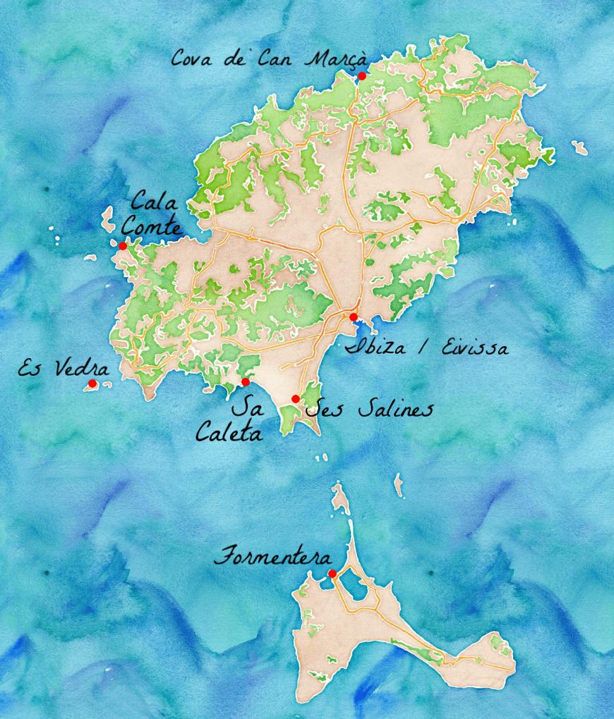 Carte des principaux lieux touristiques d'Ibiza.