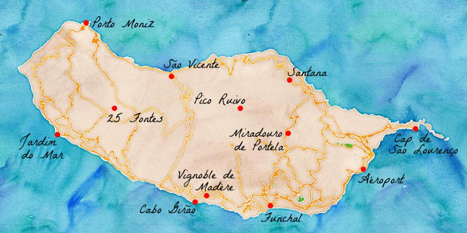 Carte des lieux touristiques de Madère