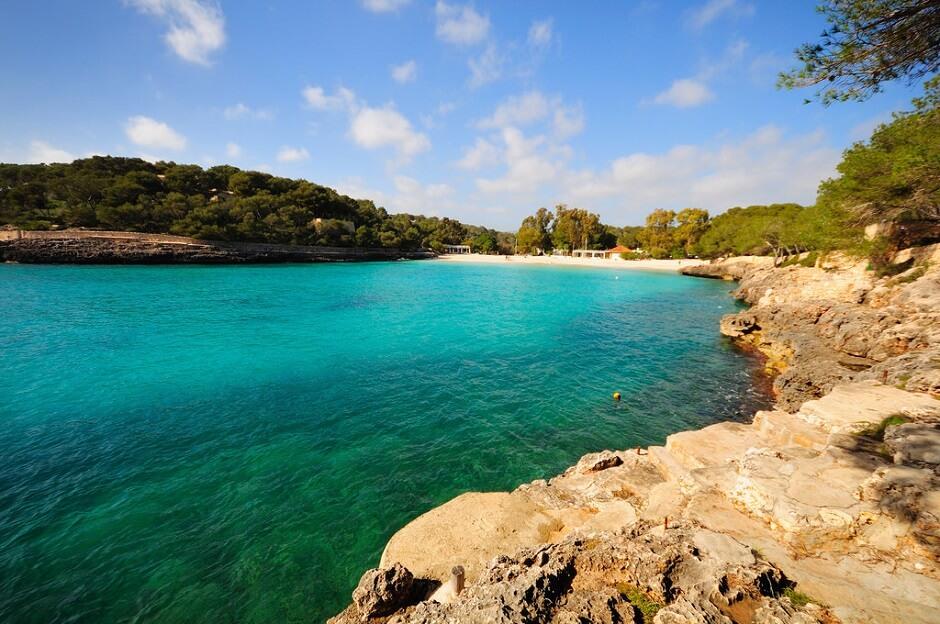 Vue de la plage de Cala Mondrago à Majorque.