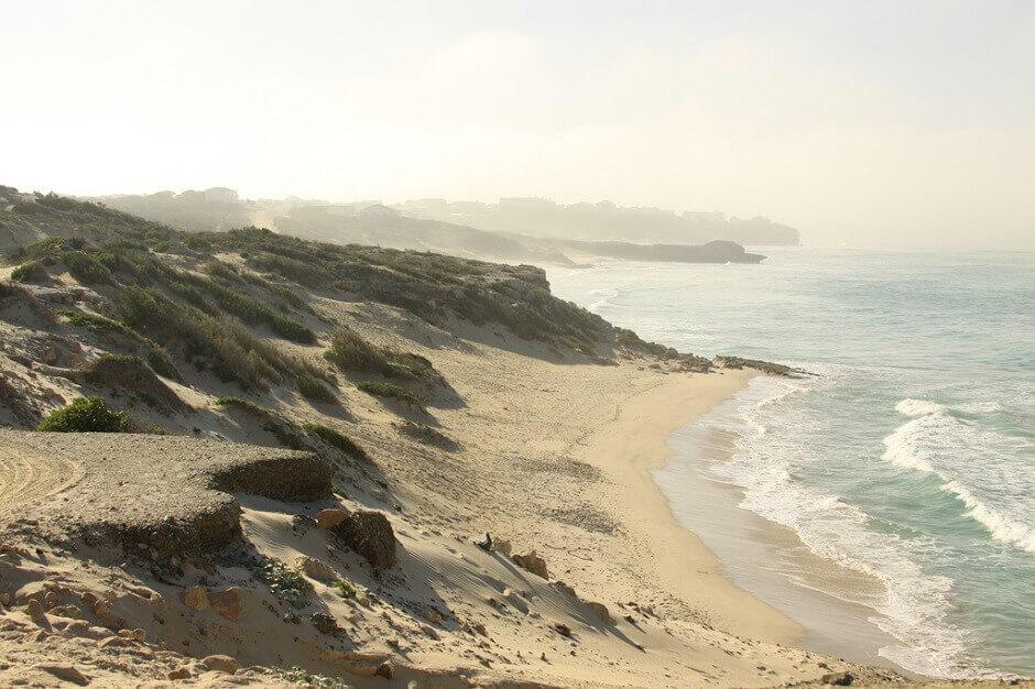 Vue d'une plage de sable en Afrique du Sud.