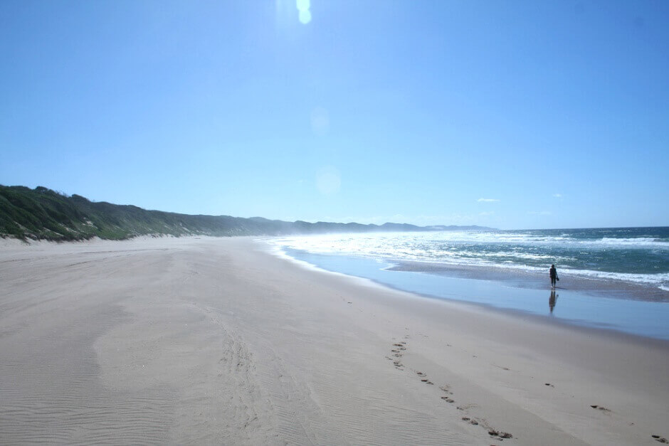 Vue d'une personne marchant dans l'eau le long d'une plage de sable en Afrique du Sud.