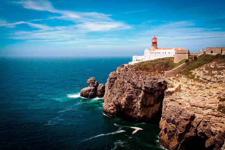 Vue du cap Saint-Vincent au Portugal.