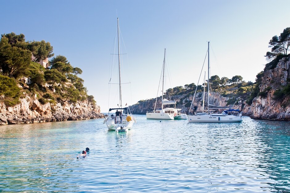 Vue de la plage de Cala Pi à Majorque.