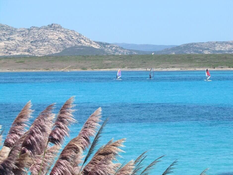 Planches à voile sur les eaux turquoises d'une plage de Sardaigne.