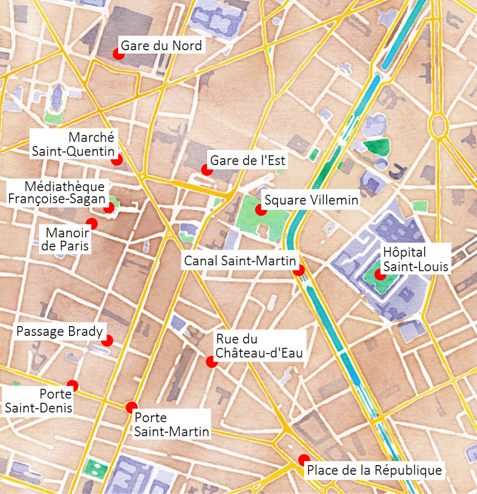 Carte des lieux touristiques du 10e arrondissement de Paris.