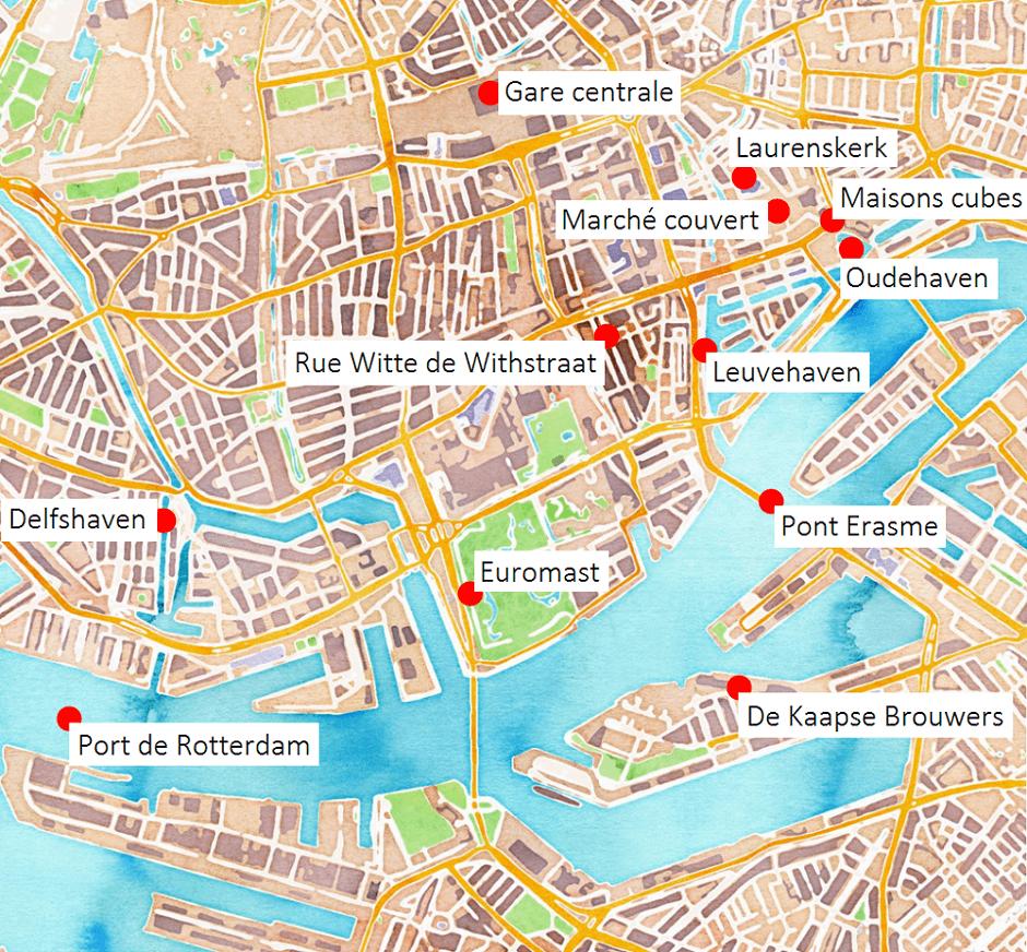 Carte des principaux lieux touristiques de Rotterdam.