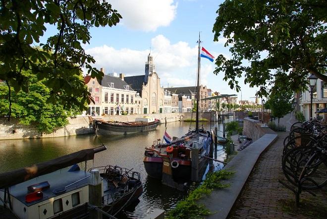 Vue du vieux port de Delfshaven à Rotterdam.