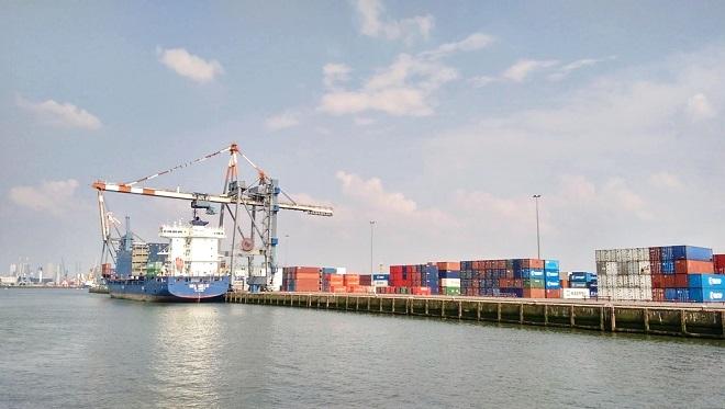 Vue de conteneurs dans le port de Rotterdam.