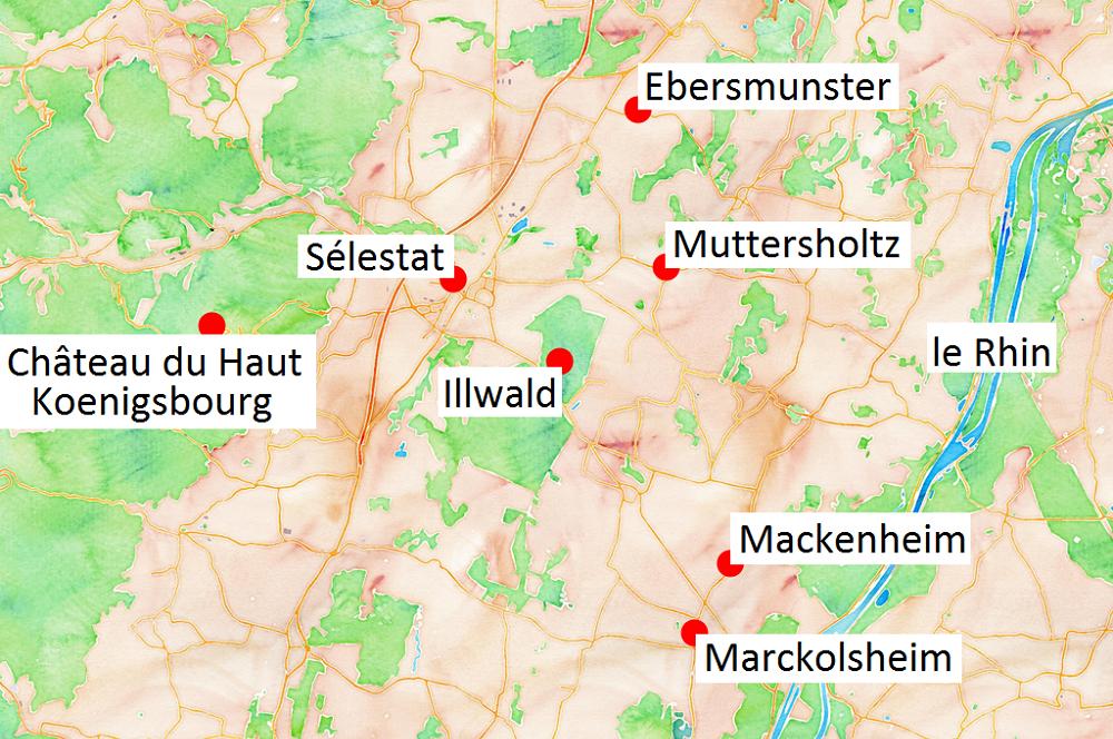 Carte des lieux à voir dans le Ried en Alsace.