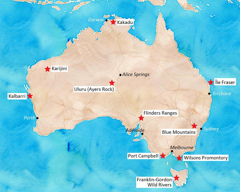 Carte touristique des parcs naturels Australie.
