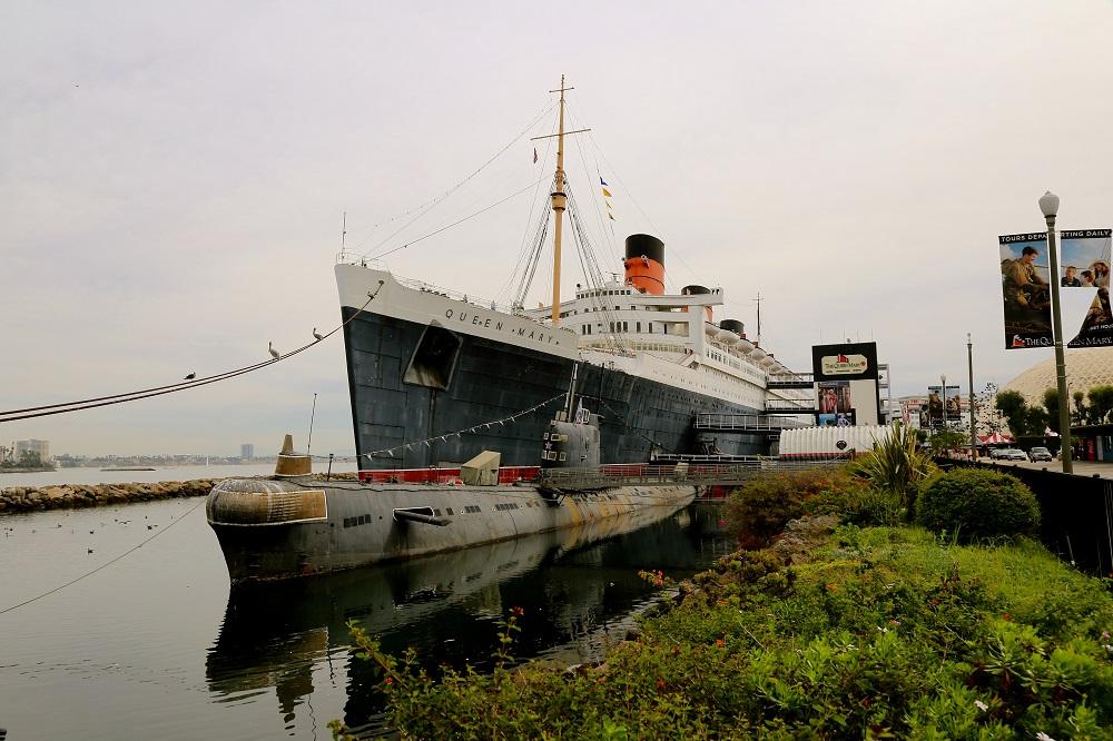 Le Queen Mary amarré en Californie USA.