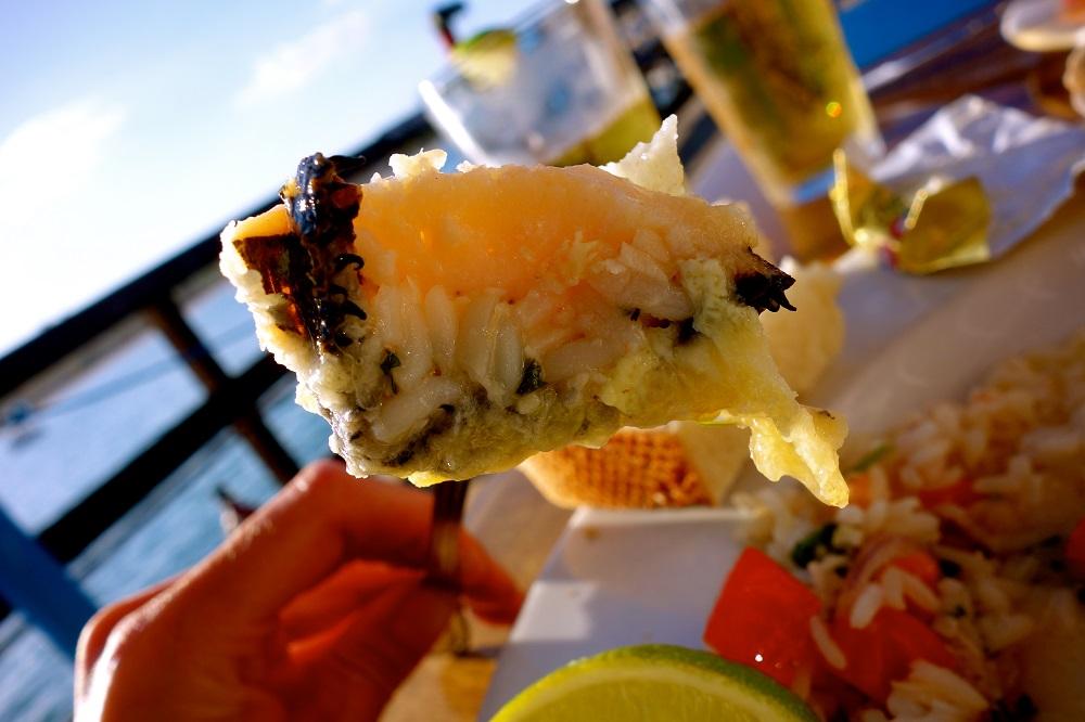 Repas de fruits en mer en Californie USA.